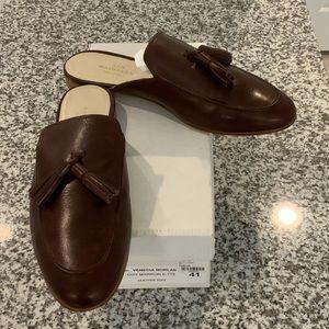 ANN MASHBURN Brown Leather Tassel Mules Sz 41/10